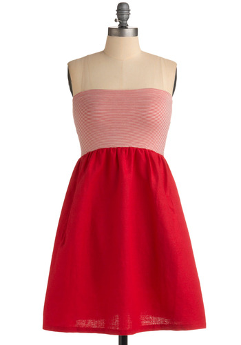 Samesies Dress in Cherry - Red, White, Solid, Stripes, Pockets, Casual, A-line, Empire, Strapless, Spring, Summer, Mid-length