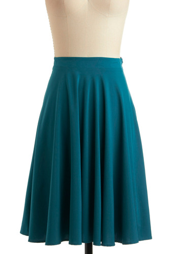 Teal the Deal Skirt - Blue, Solid, A-line, Vintage Inspired, 20s, 30s, 40s, Long