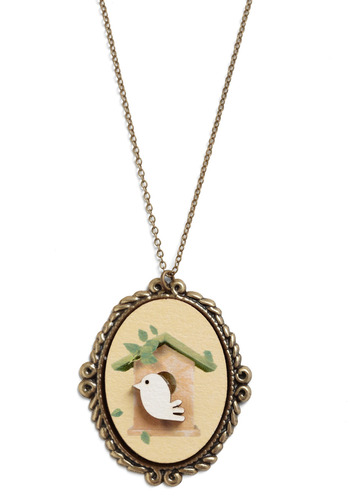 Nest for Success Necklace - Tan, Gold, Green, Chain, Party, Casual, Statement