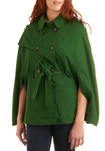 Botany Professor Cape - Green, Solid, Bows, Buckles, Buttons, Epaulets, Casual, Fall, Mid-length, 2, Press Placement