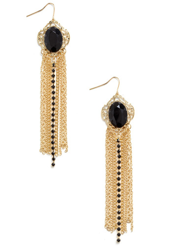 The Golden Ear-a Earrings - Gold, Black, Chain, Rhinestones, Formal, Prom, Wedding, Party, Work, Casual