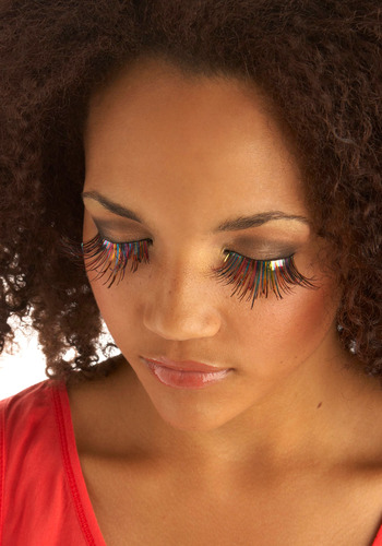 Peek of Prismatic Style Lashes - Multi, Red, Yellow, Green, Blue, Pink, Party, Statement, Vintage Inspired, 60s, 70s