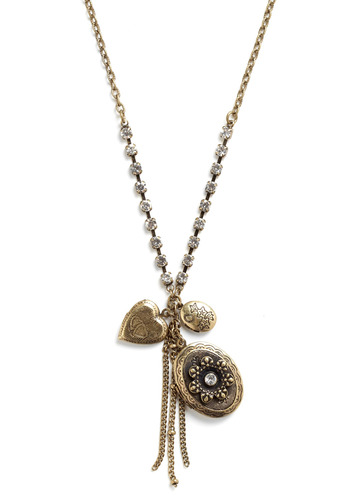 Make Sure to Locket Necklace - Gold, Chain, Rhinestones, Party, Casual