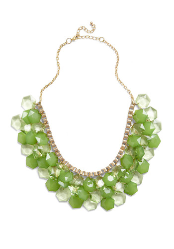 So Facet-nating Necklace - Green, Gold, Chain, Rhinestones, Special Occasion, Wedding, Party, Statement