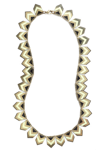Deco Delights Necklace - Gold, Black, White, Formal, Wedding, Party, Work, Casual, Vintage Inspired, 20s, 30s