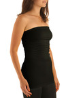 Ready to Ruche Tube Top in Black - Black, Solid, Strapless, Seamless