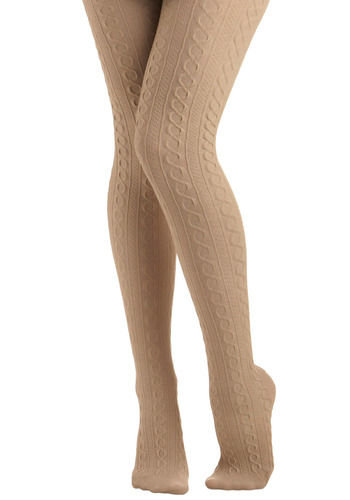 Knit's Warm in Here Tights - Cream, Stripes, Work, Casual, Folk Art