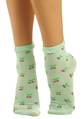 Taste of Twinberry Socks - Green, Red, Purple, Novelty Print, Casual, Knitted