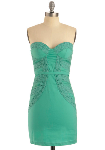 Have We Met? Dress - Green, Eyelet, Party, Sheath / Shift, Strapless, Special Occasion, Prom, Wedding, Mid-length