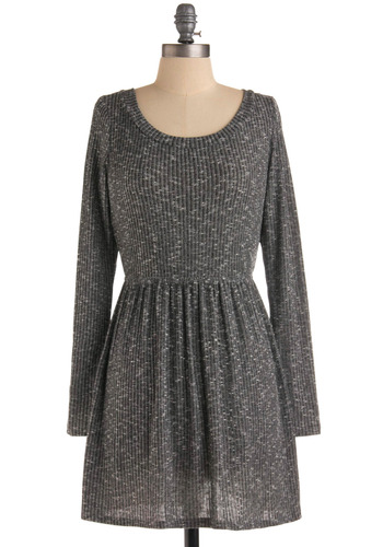 Todaycation Dress - Grey, White, Print, Casual, A-line, Long Sleeve, Sweater Dress, Short, Scoop