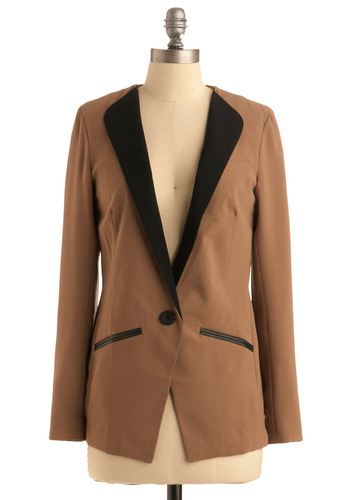 Collarless Scholar Blazer - Tan, Black, Solid, Buttons, Trim, Work, Casual, Menswear Inspired, Long Sleeve, Fall, Mid-length, 1