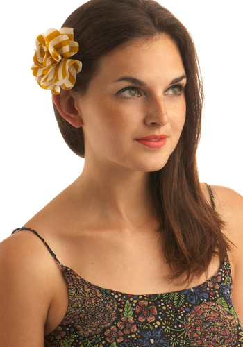 Rows in Bloom Hair Clip - Yellow, White, Stripes, Flower, Party, Casual, Rockabilly