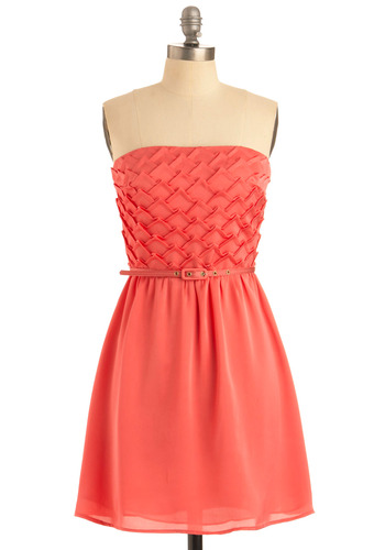 Pinnacles of Style Dress - Orange, Pink, Solid, Buckles, Party, Casual, A-line, Strapless, Mid-length