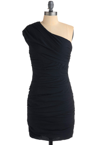 Ruche Hour Dress - Blue, Solid, Formal, Wedding, Party, Sheath / Shift, One Shoulder, Mid-length