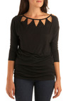 Tri Every Angle Tunic by Jack by BB Dakota - Black, Solid, Cutout, Casual, 3/4 Sleeve, Mid-length