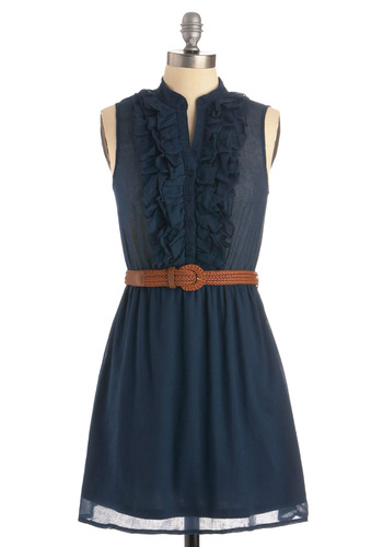 Next Weekend Dress in Evening - Blue, Solid, Buckles, Buttons, Ruffles, Woven, Casual, A-line, Sleeveless, Spring, Summer, Show On Featured Sale, Show On Featured Sale, Short