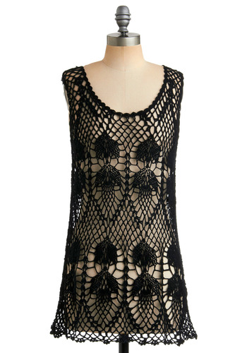 Be-holed This Tunic - Black, Crochet, Casual, Tank top (2 thick straps), Spring, Summer, Boho, Vintage Inspired, 70s, Long