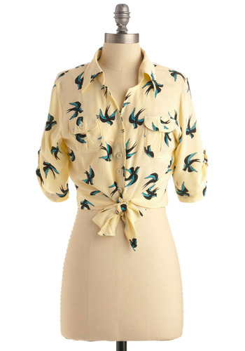 Each and Aviary Way Top - Yellow, Green, Black, Print with Animals, Novelty Print, Buttons, Pockets, Casual, 3/4 Sleeve, Short Sleeves, Spring, Summer, Short