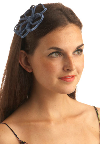 She and Denim Headband - Blue, Bows, Flower, Party, Casual