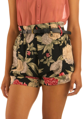 Dances with Florals Shorts by Mink Pink - Black, Multi, Red, Green, White, Floral, Pockets, Casual, Spring, Summer, Mid-length