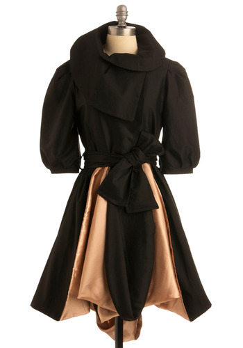 Sumptuous Satin Coat - Black, Tan / Cream, Bows, Ruffles, Special Occasion, Party, A-line, Short Sleeves, Fall, Winter, Long, 2, International Designer