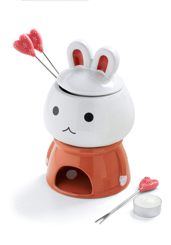 Dip-Hop Hit Fondue Set by Shinzi Katoh - Orange, White, Handmade & DIY, Kawaii