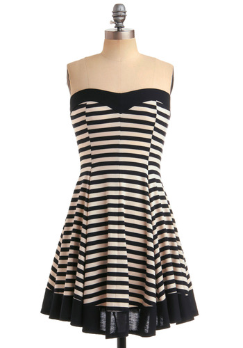 The Time is Stripe Dress - Stripes, Casual, A-line, Strapless, Summer, Black, White, Mid-length, Print