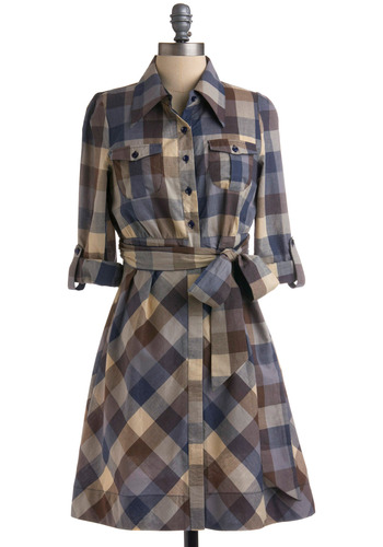 Check Yourself Dress - Brown, Checkered / Gingham, Bows, Buttons, Pockets, Casual, A-line, Empire, Long Sleeve, 3/4 Sleeve, Spring, Summer, Fall, Plaid, Blue, Tan / Cream, Mid-length