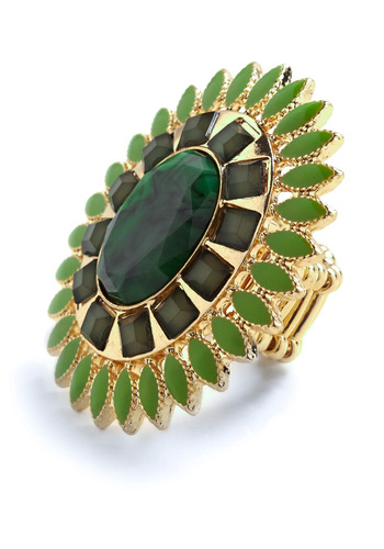 Terra Verde Ring - Green, Gold, Rhinestones, Formal, Wedding, Party, Casual, Statement