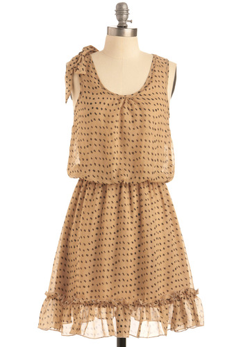 And That's Splat Dress in Sand - Tan, Brown, Polka Dots, Print, Bows, Ruffles, Casual, A-line, Tank top (2 thick straps), Spring, Summer, Mid-length