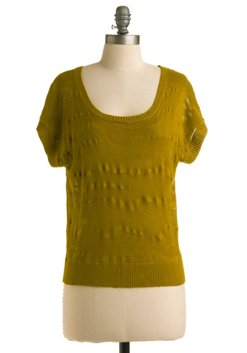 Lock and Kiwi Top - Green, Stripes, Casual, Short Sleeves, Mid-length