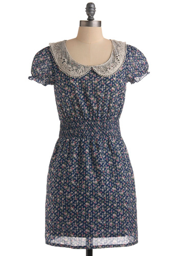 Dearest Diarist Dress - Blue, Green, Pink, Tan / Cream, Polka Dots, Floral, Crochet, Lace, Peter Pan Collar, Pockets, Casual, A-line, Cap Sleeves, Spring, Summer, Mid-length