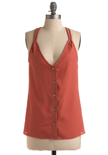Grapefruit Commute Top - Orange, Solid, Buttons, Casual, Spaghetti Straps, Racerback, Spring, Summer, Mid-length