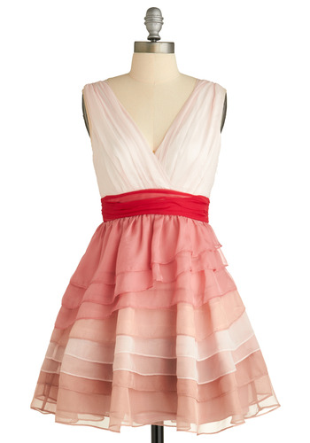 Truly Yours Strawberry Dress - Pink, Cream, Red, Ruffles, Tiered, Formal, Wedding, Party, Casual, Vintage Inspired, A-line, Empire, Sleeveless, Spring, Summer, Short