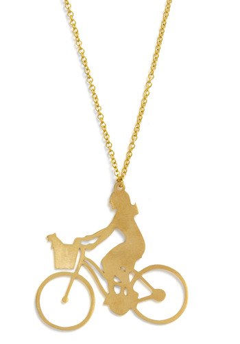 I Bike It Like That Necklace by Monserat De Lucca - Gold, Chain, Cutout, Party, Casual, Statement