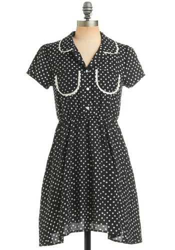 Dot Pockets Dress - Black, White, Polka Dots, Buttons, Pockets, Trim, Casual, A-line, Short Sleeves, Spring, Summer, Shirt Dress, Mid-length