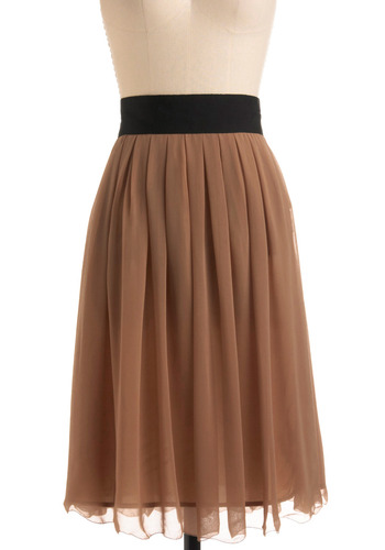 Hot Caramel Skirt - Tan, Black, Solid, Pleats, Casual, A-line, Work, Vintage Inspired, 70s, Long, Boho