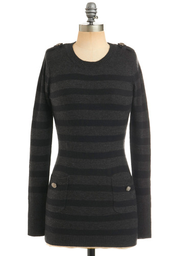 Nights in North Beach Tunic - Grey, Black, Stripes, Buttons, Epaulets, Pockets, Casual, Long Sleeve, Fall, Winter, Long
