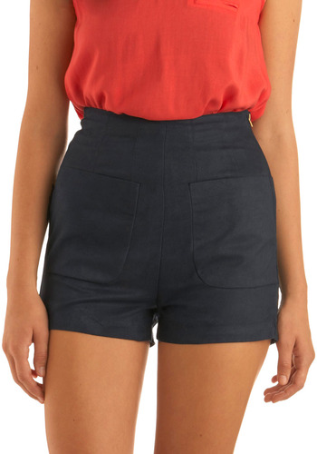 Yea or Navy Shorts - Blue, Solid, Pockets, Casual, Spring, Summer, Mid-length
