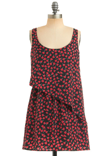 Poppy That Dress - Floral, Ruffles, Tiered, Casual, Tank top (2 thick straps), Spring, Summer, Red, Black, Short