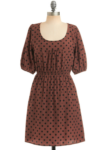 Chocolate Chocolate Chip Dress - Brown, Black, Polka Dots, Casual, A-line, Short Sleeves, Mid-length, Scoop