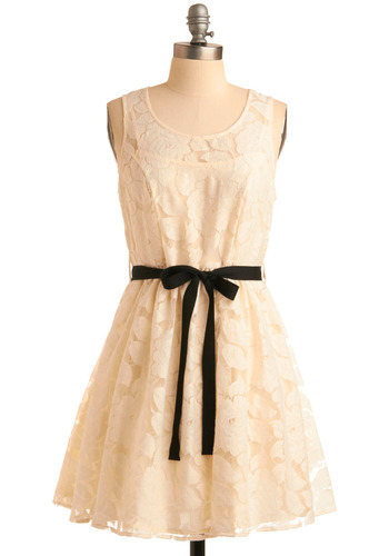 In Perfect Contrast Dress - Cream, Floral, Bows, Exposed zipper, Lace, Party, Casual, A-line, Tank top (2 thick straps), Show On Featured Sale, Short