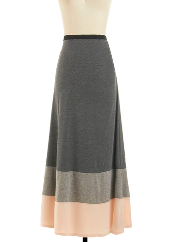 Bookstore Belle Skirt - Grey, Pink, Casual, Maxi, Long, Colorblocking, Minimal