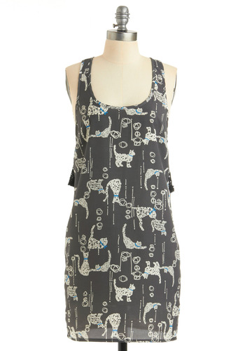 Cat and Ca-doodle Dress - Grey, White, Print with Animals, Novelty Print, Bows, Exposed zipper, Lace, Casual, Shift, Tank top (2 thick straps), Racerback, Spring, Summer, Mid-length