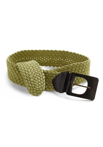 Weave the Nest Belt - Green, Brown, Buckles, Woven, Casual