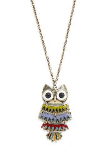Well Owl Be Necklace - Multi, Silver, Red, Green, Blue, Chain, Party, Casual, Owls, Statement