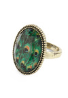 One Eye on the Pea-clock Ring - Green, Silver, Animal Print, Party, Casual