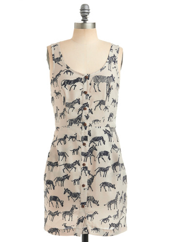 Like What You Zebra Dress - Cream, Black, Print with Animals, Novelty Print, Buttons, Pockets, Casual, Shift, Tank top (2 thick straps), Spring, Summer, Short