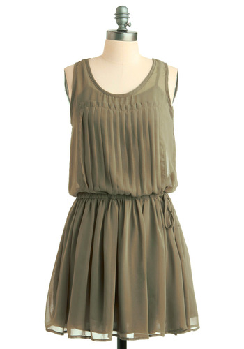 Patina Turner Dress - Green, Solid, Pleats, Casual, A-line, Tank top (2 thick straps), Spring, Summer, Mid-length