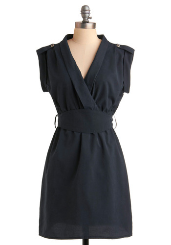 Consider the Possibilities Dress - Blue, Solid, Buttons, Epaulets, Casual, A-line, Wrap, Sleeveless, Mid-length, Belted, Sheer, V Neck